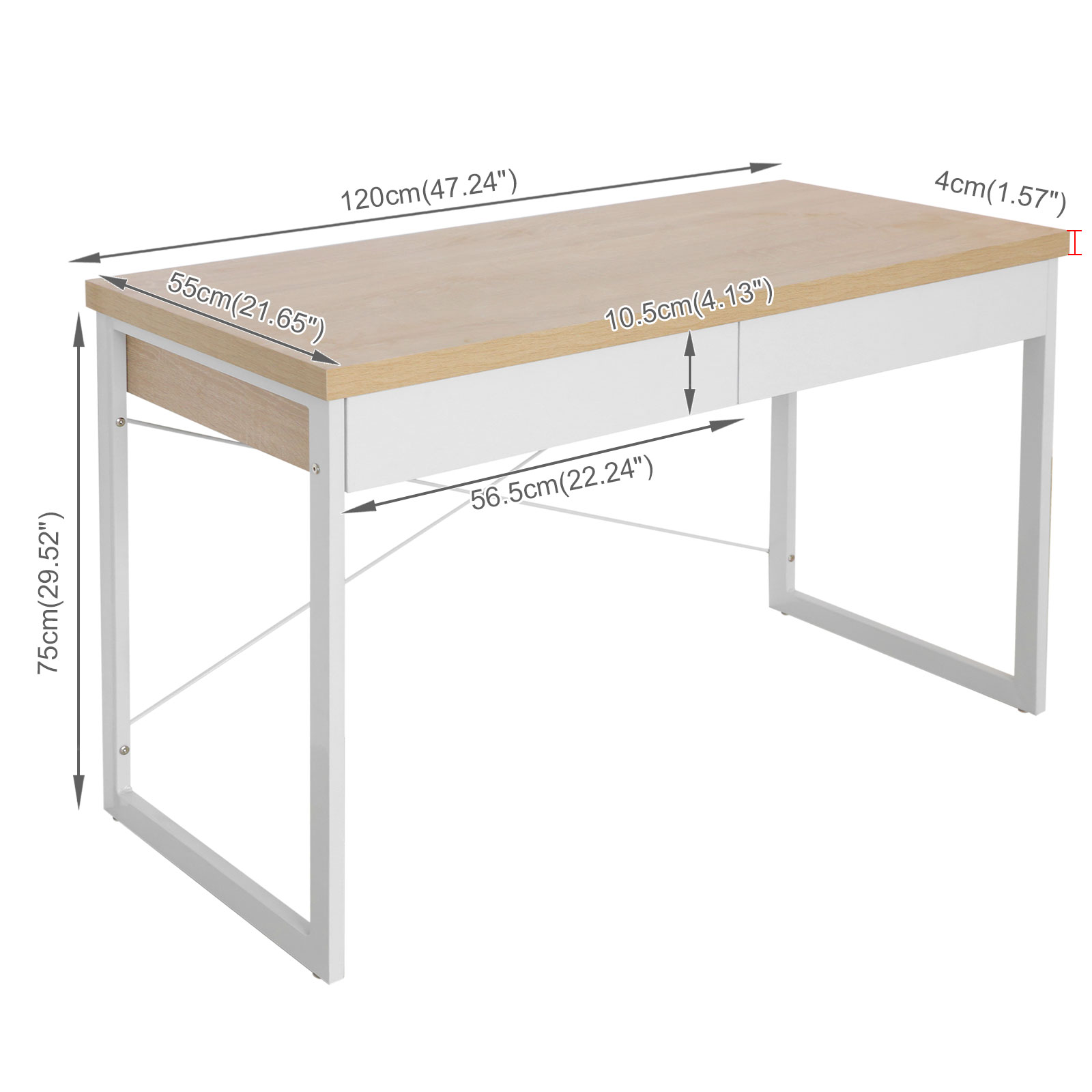 Computer Desk Office Study Table Metal Executive Drawer