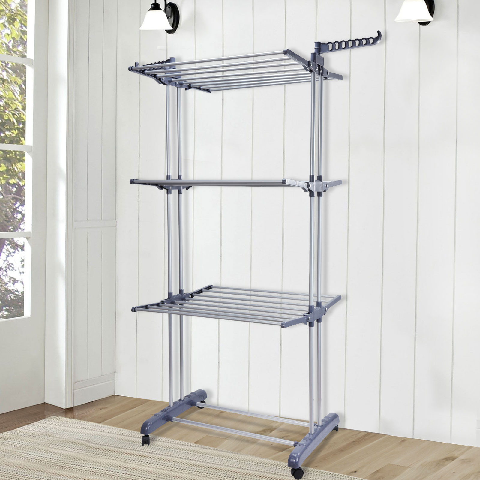 clothes airer horse 6 tiers laundry washing drying rack. Black Bedroom Furniture Sets. Home Design Ideas