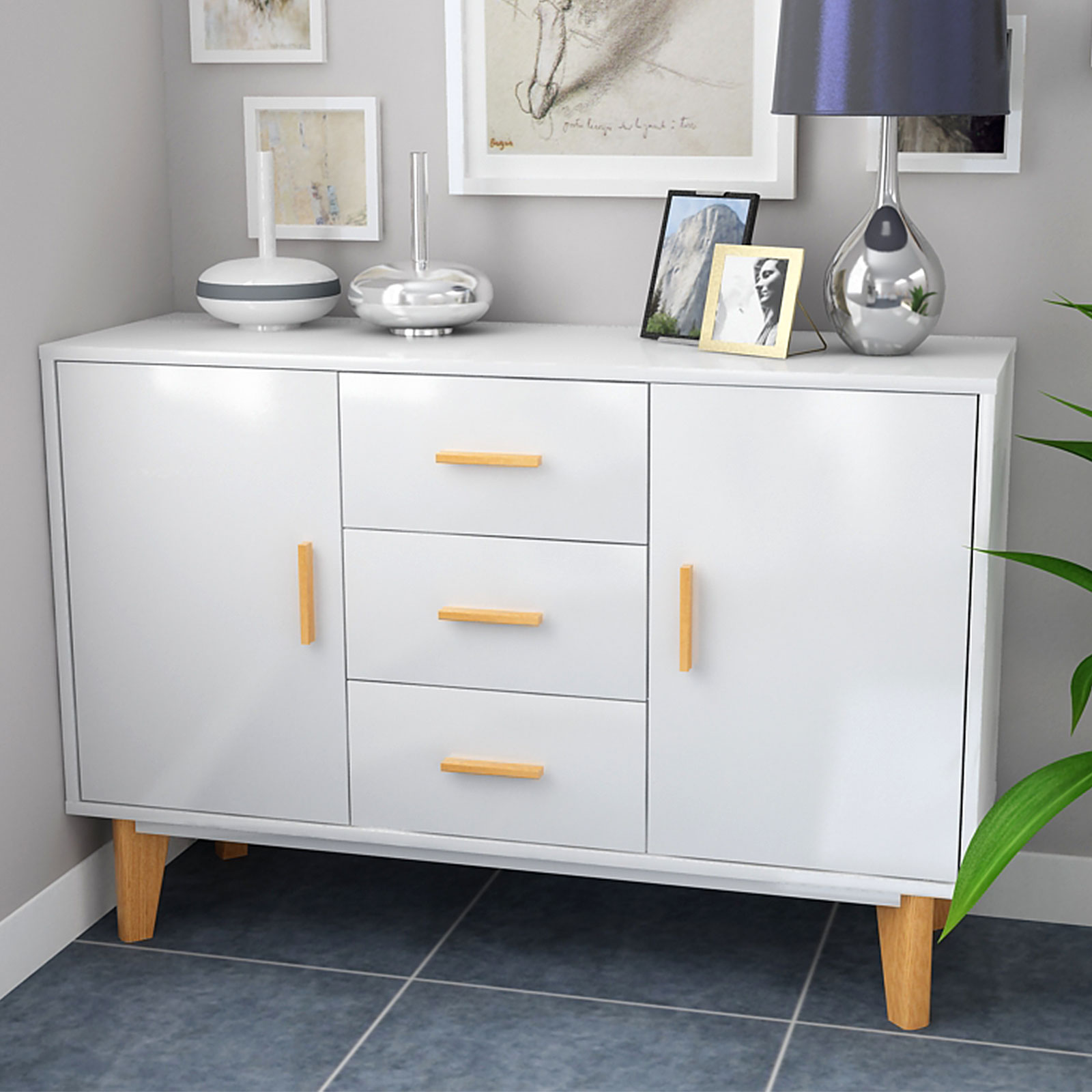 Abbey Coffee Table High Gloss White With 2 Pull Out Drawers: High Gloss Sideboard Cabinet TV Stand Unit Coffee Table
