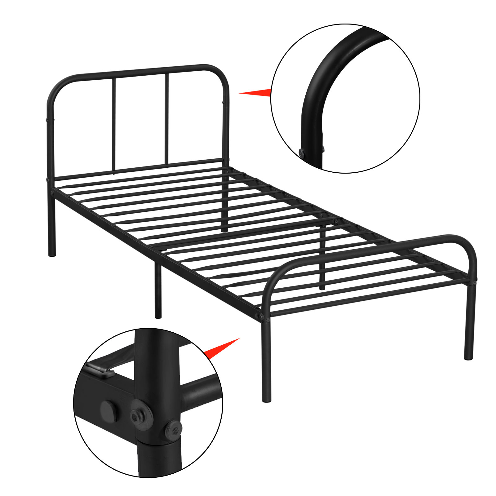 Metal platform bed frame twin size bedroom heavy duty Metal bed frame twin