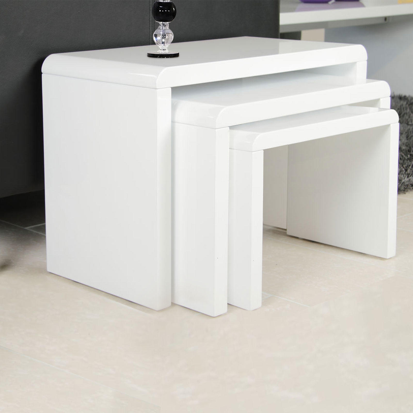 High Gloss 3 Side Nested Of Tables White Set Coffee Table