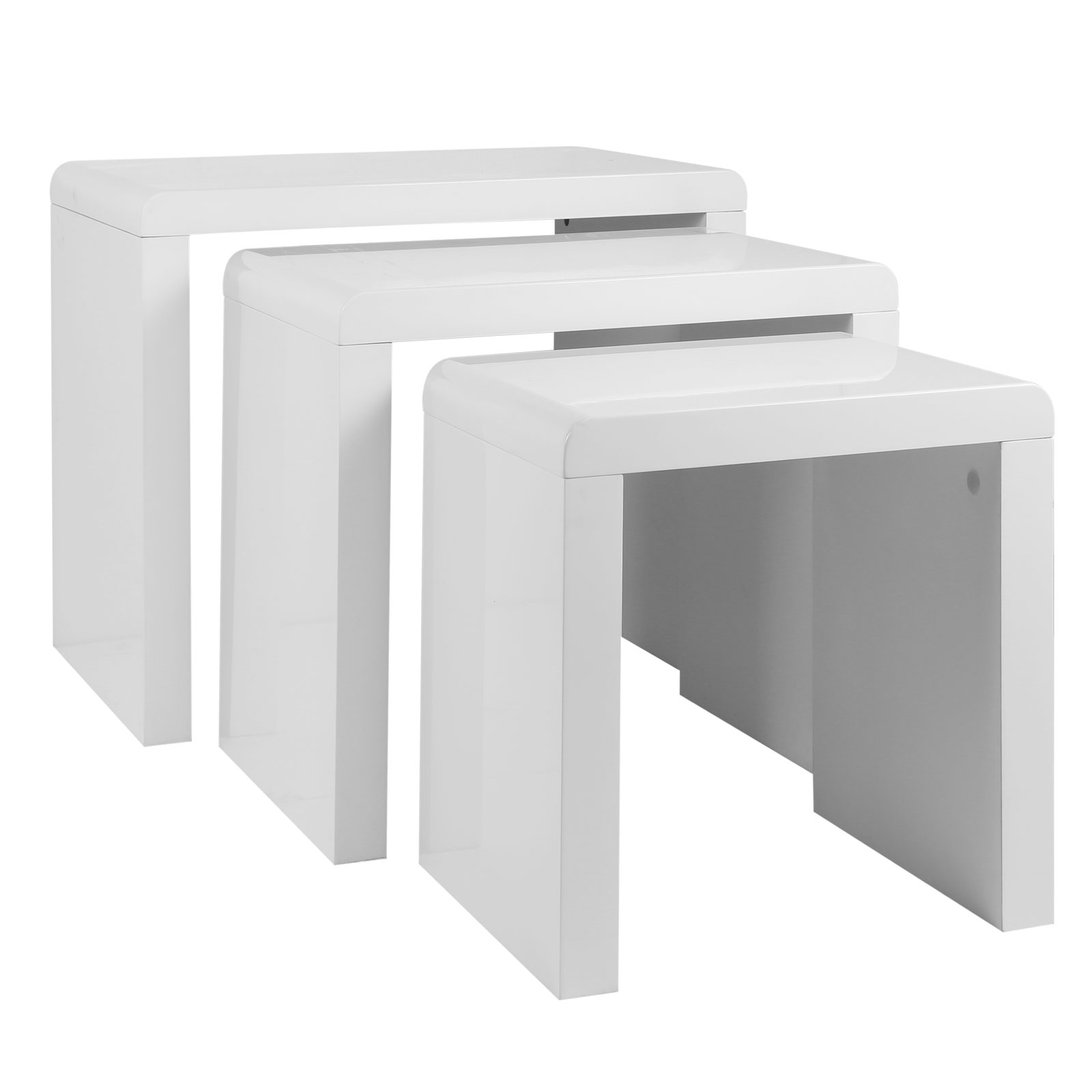 high gloss nest of 3 coffee tables side end table set