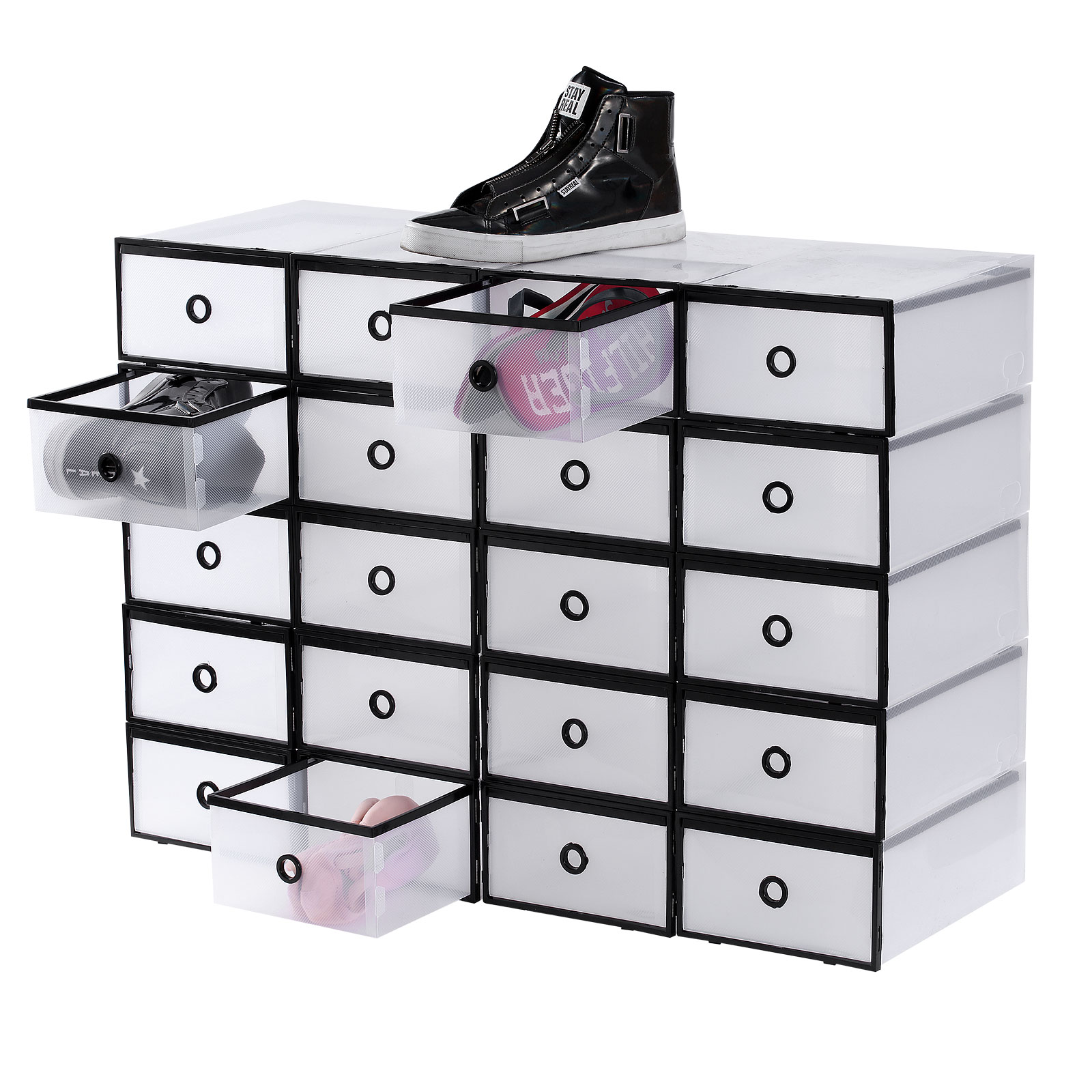 20x Clear Plastic Shoe Box Drawer Stackable Storage