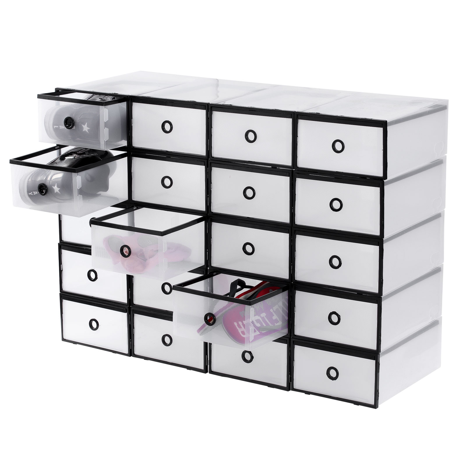 20x clear plastic shoe box drawer stackable storage - Stackable 20desk 20organizer ...
