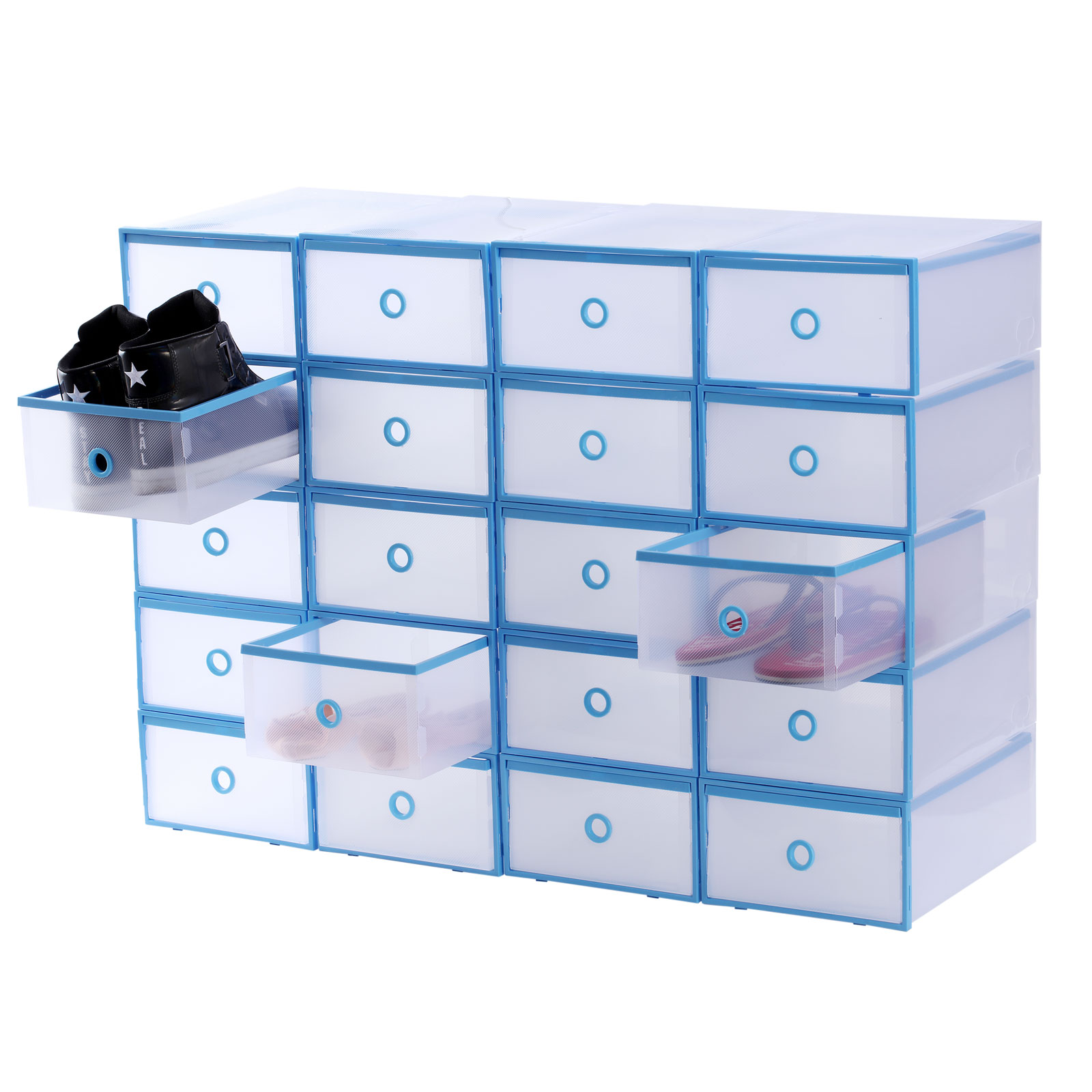 20x drawer shoe storage box plastic stackable clear