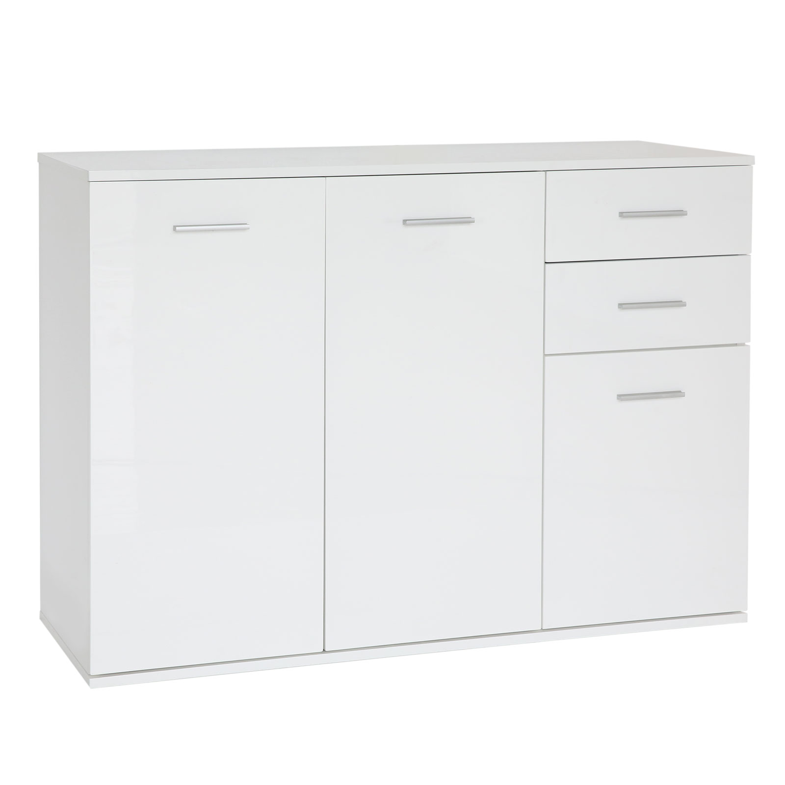 Modern Sideboard Cabinet Cupboard Wall Unit White High Gloss 3 Doors 2 Drawers