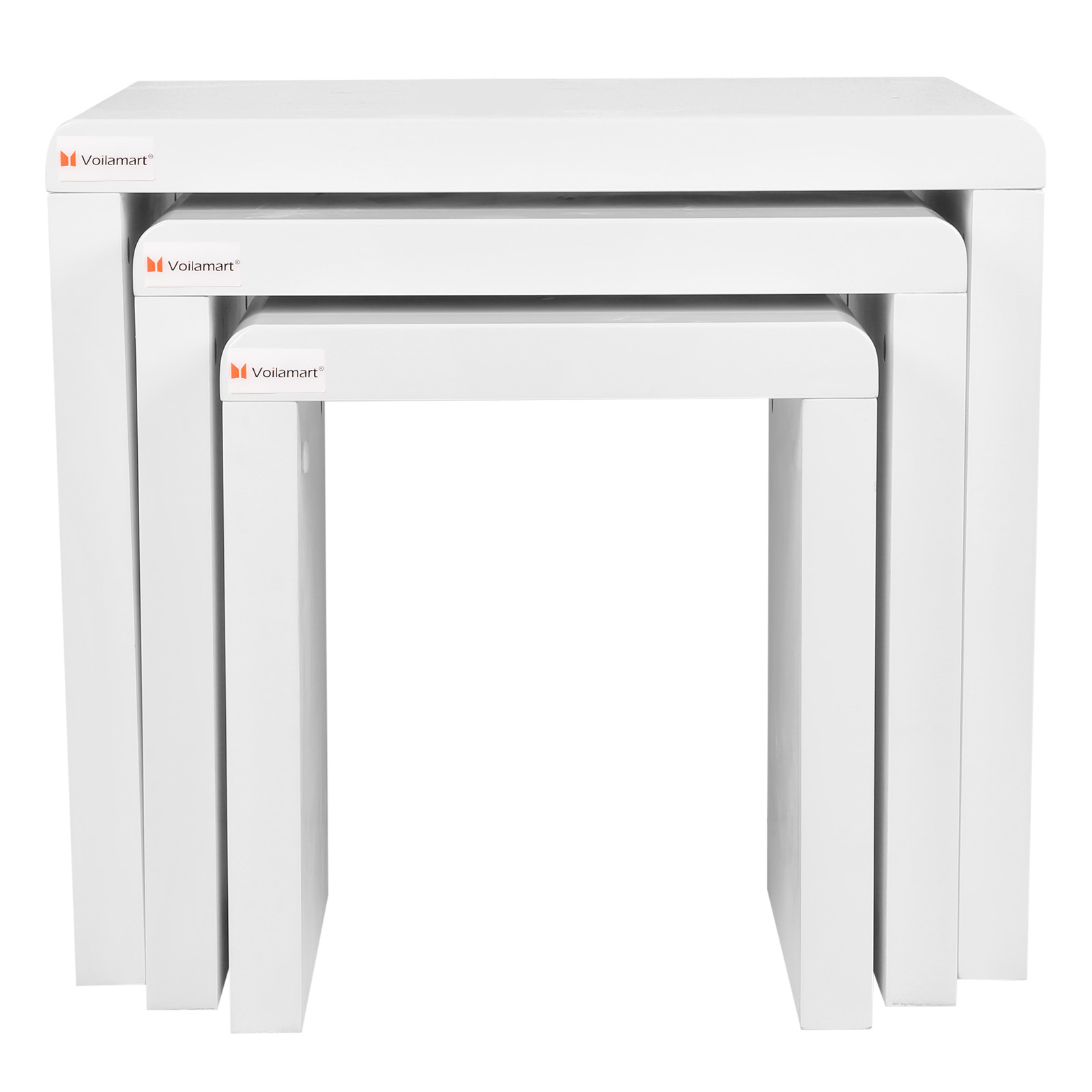 High Gloss 3 Side Nested Of Tables White Set Coffee Table: Modern High Gloss White Nest Of 3 Coffee Table Side Table