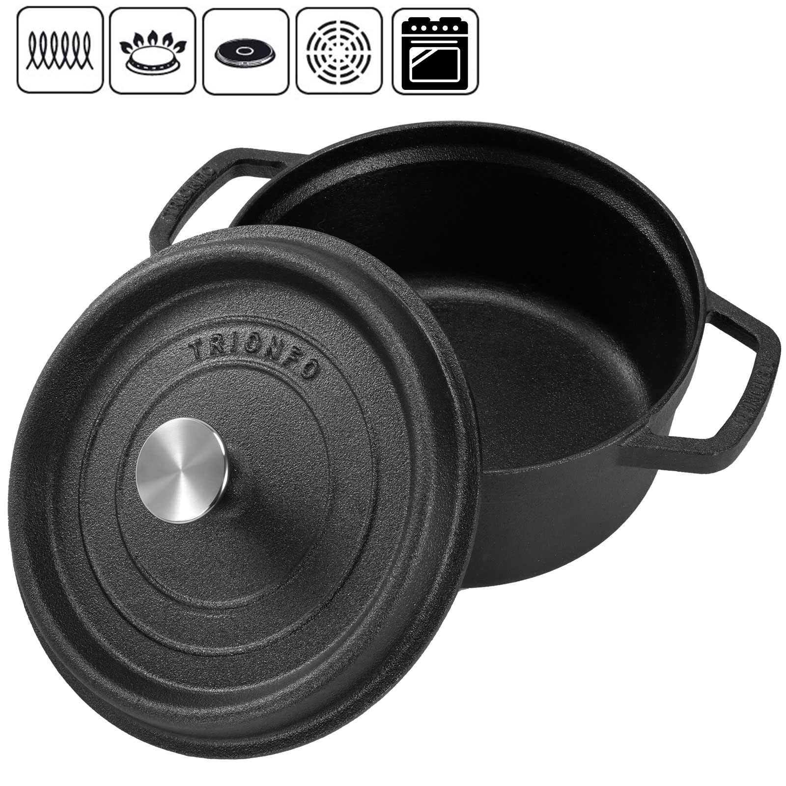4 5 quart cast iron dutch oven pot cookware lid outdoor home kitchen cooking. Black Bedroom Furniture Sets. Home Design Ideas