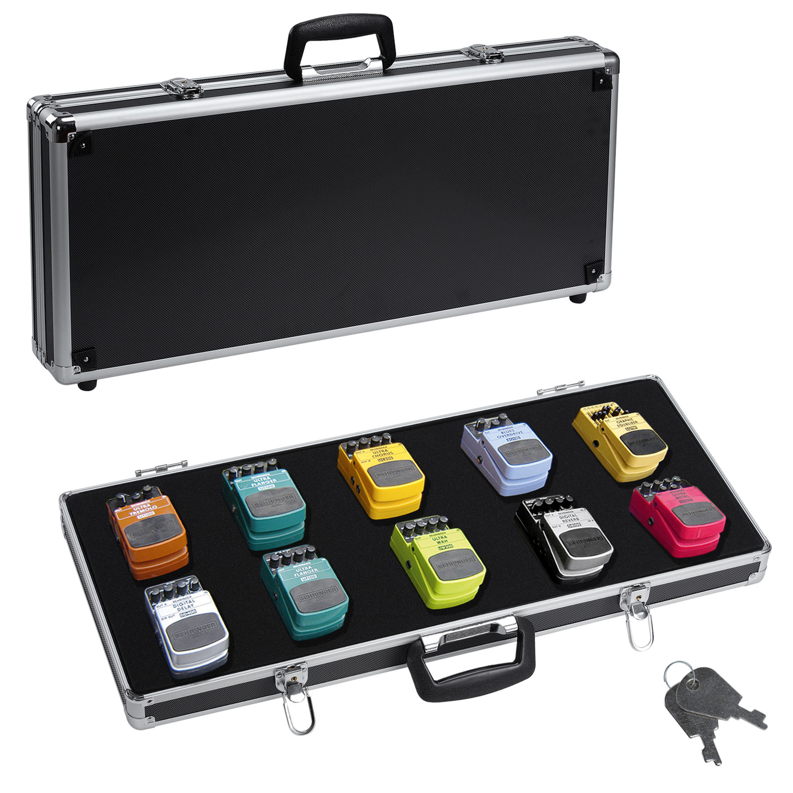 heavy duty pedal board aluminum flight case for guitar effects pedals travel ebay. Black Bedroom Furniture Sets. Home Design Ideas
