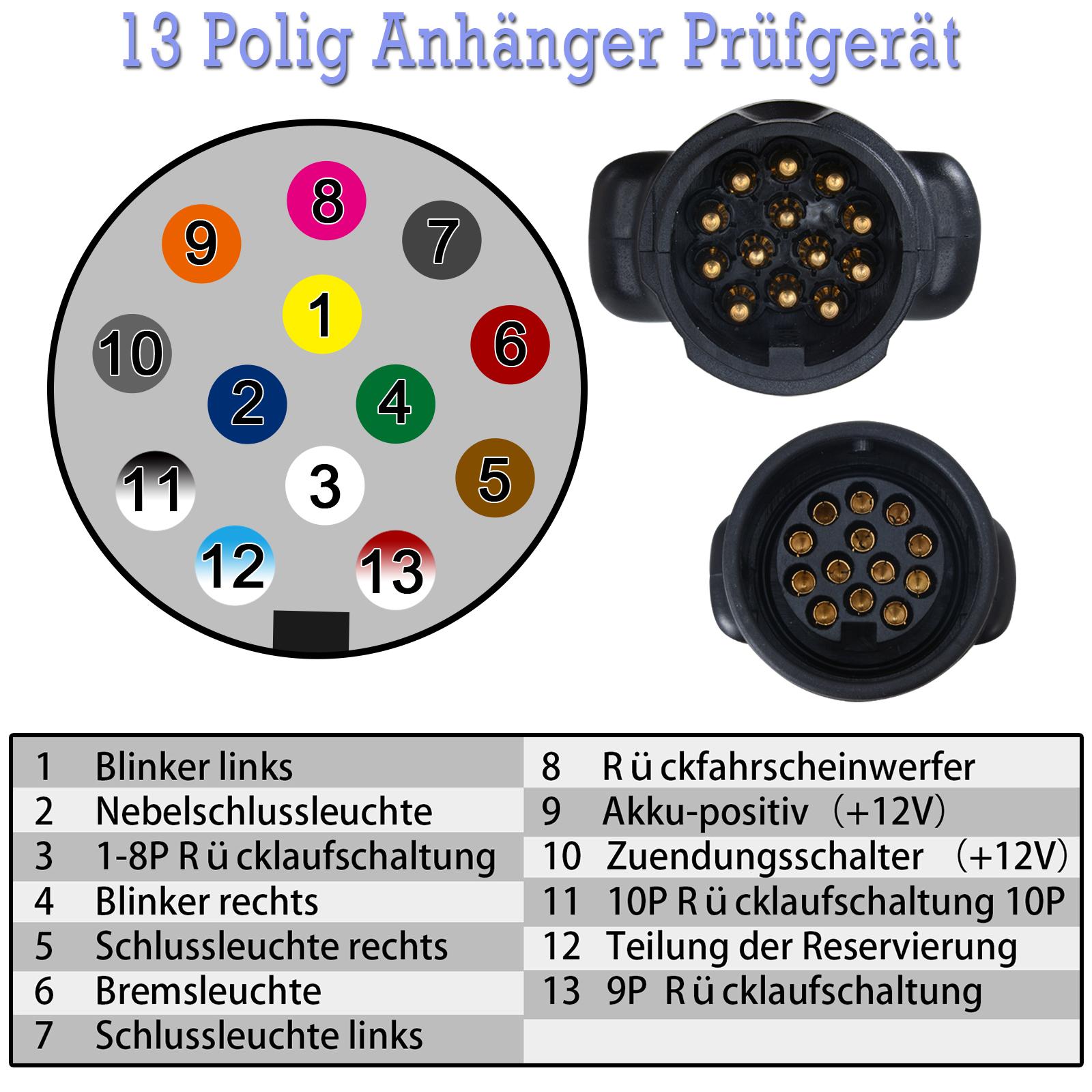 13-13 Pol Prüfgerät Anhänger Tester Trailer Prüfer Stecker Steckdose ...